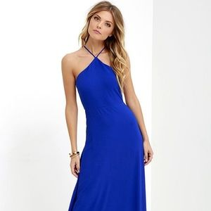 LuLu's Royal Blue Backless Maxi Formal Dress